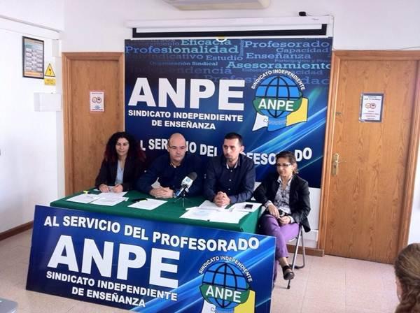 Los responsables de ANPE Canarias, entre ellos su presidente, Pedro Crespo (2i), durante la rueda de prensa. | DA