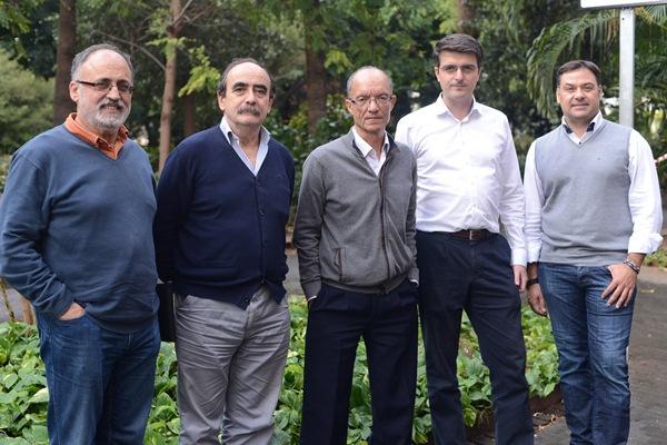 De izda. a dcha., Antonio Cabrera, Celestino García, Roque Calero, Jorge Morales y Abel Cedrés. /  SERGIO MÉNDEZ