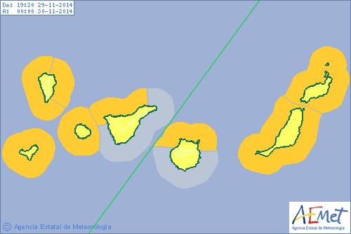 Situación del riego por vientos y oleaje de la Aemet. | DA