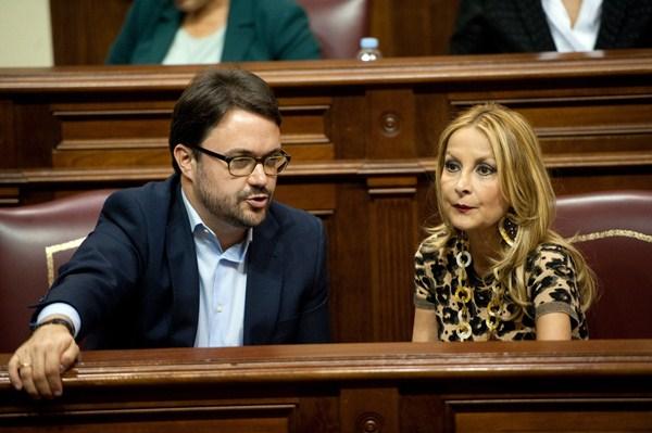El presidente del grupo parlamentario popular, Asier Antona, y la portavoz, Australia Navarro. / FRAN PALLERO
