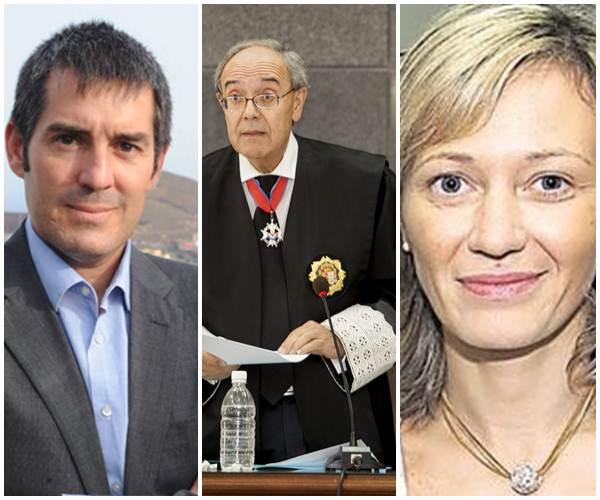 Fernando Clavijo, Vicente Garrido y Victoria Rosell.   DA