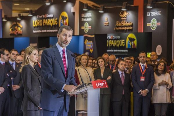El rey Felipe VI, durante su intervención ayer en la Feria Internacional de Turismo (Fitur). / DA