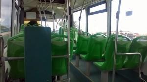 Imagen de una guagua vacía en el trayecto de Araya al casco de Candelaria (línea 123). / DA