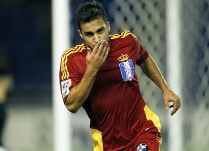 Joselu celebra el gol que le hizo al Tenerife el pasado mes de octubre en el Heliodoro. / SANTIAGO FERRERO