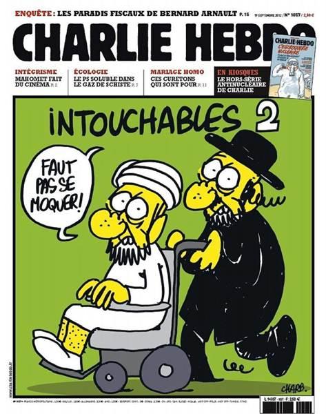 Un imán empujado en su silla de ruedas por un rabino con el título 'Intocables 2: no se rían'.