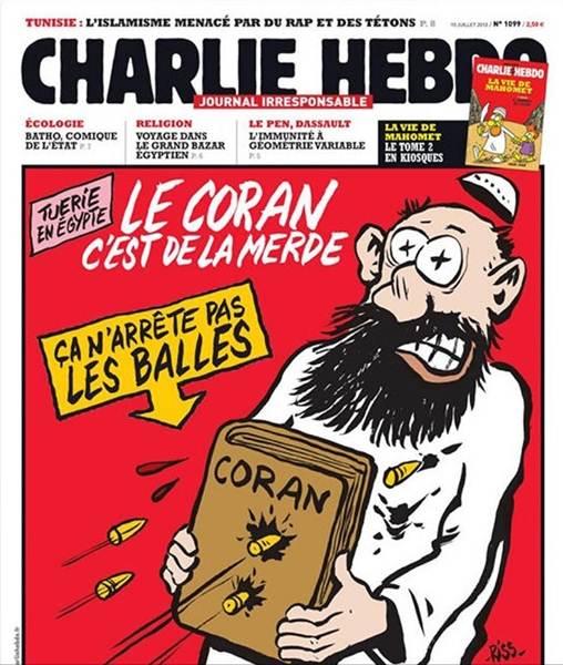 """""""El Corán es una mierda, no detiene las balas"""", se podía leer en la portada del 19 de julio de 2013, en la que se ve un musulmán recibiendo seis disparos."""