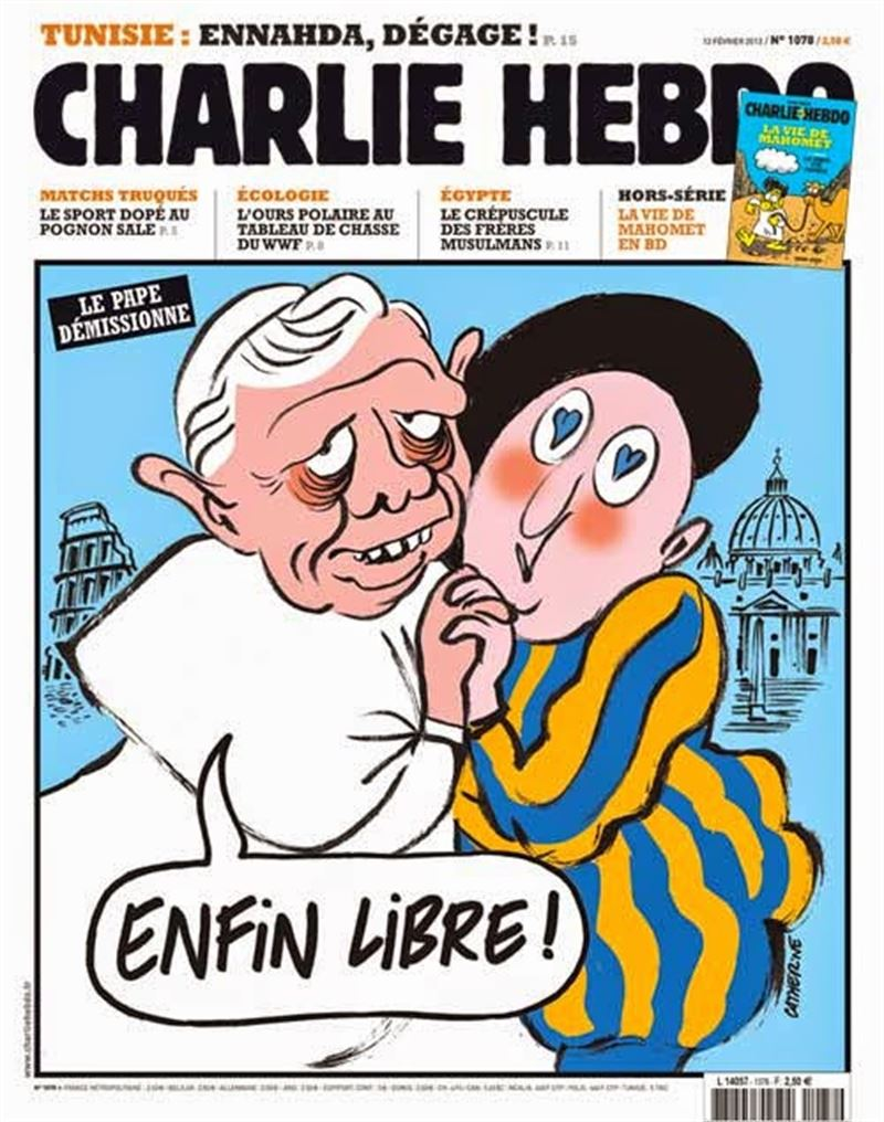No solo el islam ha sido satirizado. En una portada insinuaban que Jesús fue gay, al igual que hacen en esta sobre el papa Benedicto.
