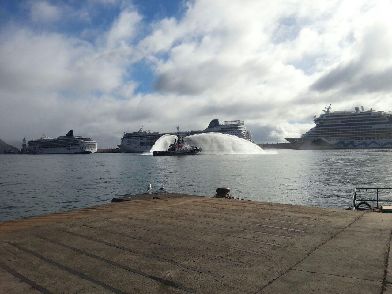 Recibimiento a los cruceros, por parte de los remolcadores de la instalación portuaria./ Los Jardiner@s