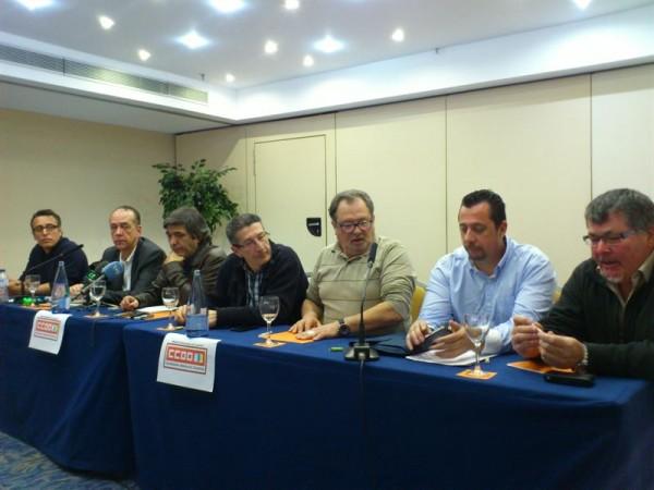 Exdirigentes de CCOO durante la rueda de prensa. | EP