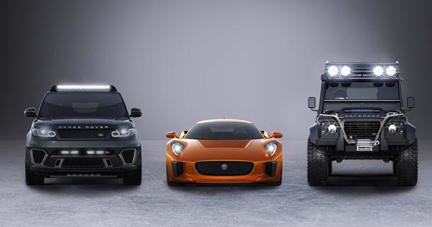 prototipo C-X75 de Jaguar, el Range Rover Sport SVR y el Defender Big Foot