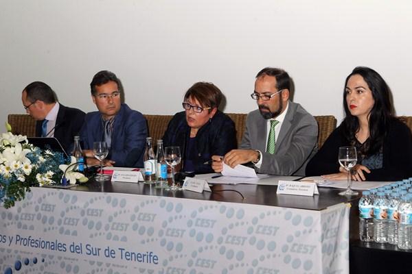 La junta directiva del Cest, que preside Ana Concepción, explicó su plan de acción para este año. / GERARD ZENOU