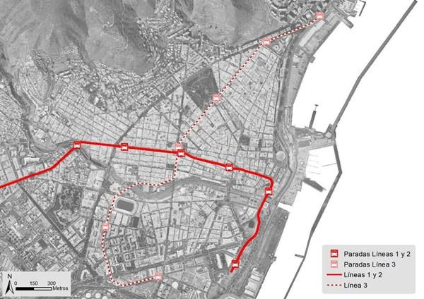 Mapa del trayecto de la línea 3 del tranvía. / DA