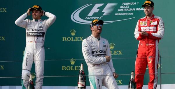 El podio del GP de Australia en 2015. | REUTERS