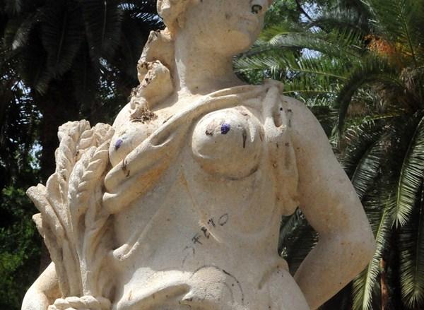 Las esculturas del parque son el blanco de los ataques vandálicos. / J.G.