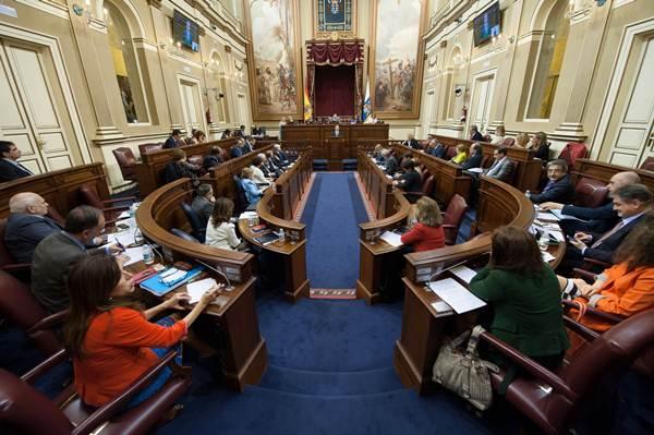 Detalle del Parlamento de Canarias durante el debate de política general.   FRAN PALLERO