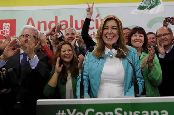 Susana Díaz tras ganar las elecciones andaluzas ayer.   REUTERS