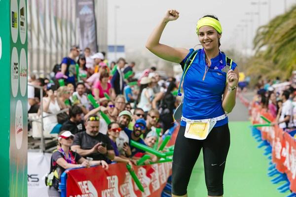 Cristina Pedroche a su llegada a meta. / DA