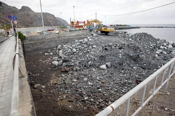 Estado en el que quedó la desembocadura del barranco en San Andrés, tras las lluvias del pasado 19 de octubre. / S. M.