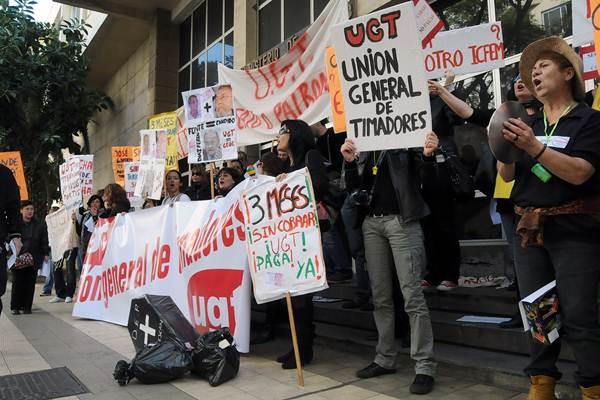 Imagen de una manifestación de trabajadores de Fundescan en Santa Cruz de Tenerife. | DA