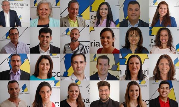 Rostros de la candidatura de Coalición Canaria al Consistorio de Adeje. / DA