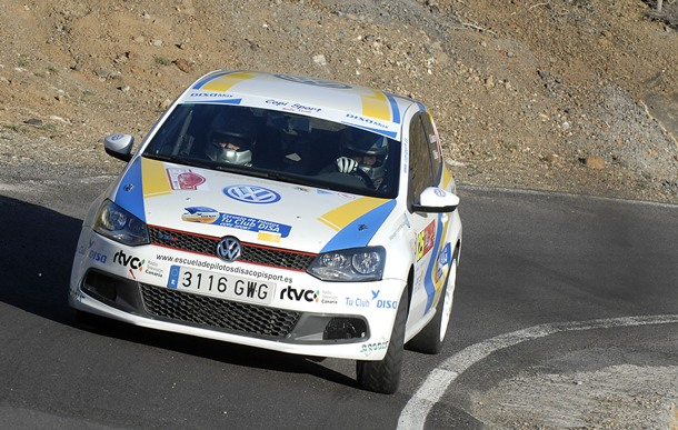 Dani Santana y Yeray Mújica (VW Polo TDI) sellaron con nota su debut en Rally Villa de Adeje. | DA