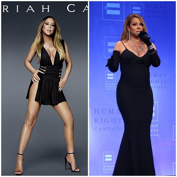 Mariah Carey en la portada del disco (i) y en un concierto (d).  / EP