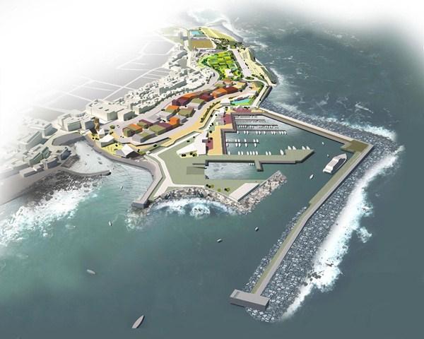 Maqueta del futuro muelle deportivo y pesquero que se construirá en la ciudad turística. / DA