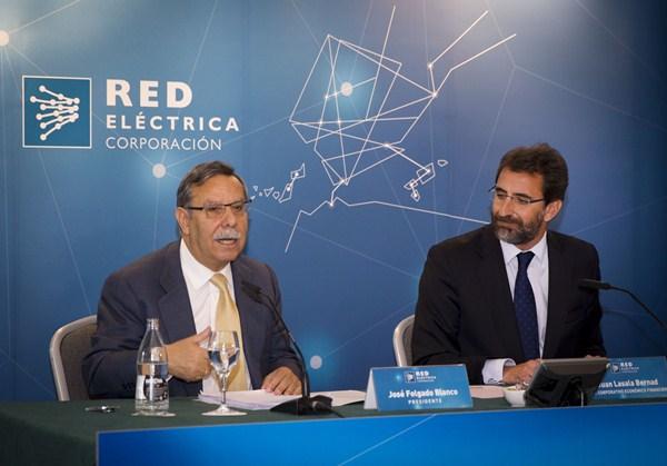 El presidente de REE, José Folgado, junto al director económico-financiero, Juan Lasala. / DA