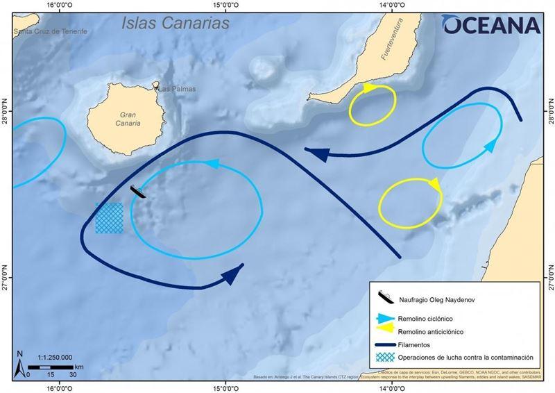 Gráfico de Oceana del hundimiento del Oleg Naydenov. | OCEANA