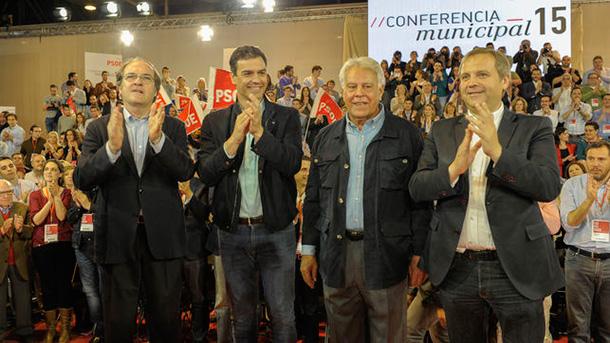 Ángel Gabilondo, Pedro Sánchez, Felipe González y Antonio Miguel Cardona