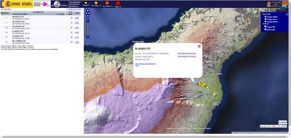 Captura de pantalla de la ubicación y magnitud de los temblores. / DA