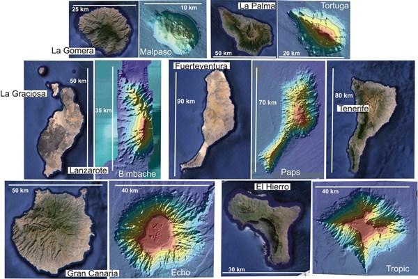 El extraordinario parecido entre las Canarias antediluvianas, ahora sumergidas, y las actuales, resulta asombroso. / IGME