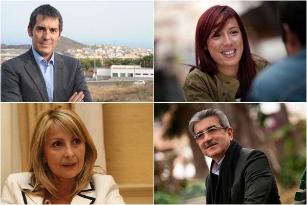 Clavijo (CC), Hernández (PSOE), Navarro (PP), Rodríguez (NC). / DA