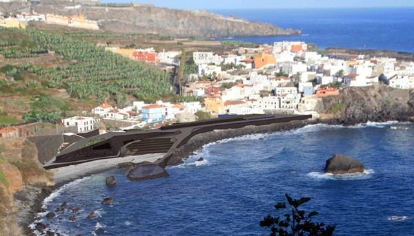 Proyecto de la zona de baño y el paseo de Las Aguas presentado por el PSOE en 2012 a Costas. / DA