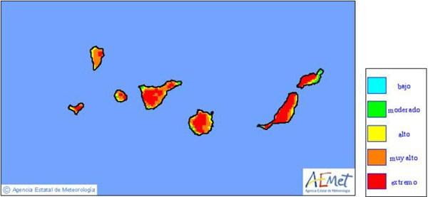 Mapa de riesgo de incendios para este martes, 12 de mayo. / FUENTE: AEMET