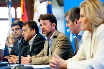 Molina, Bermúdez, Alonso, Clavijo y Tejedor, en rueda de prensa. / F.P.