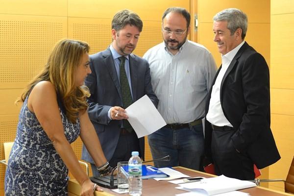 Valido, Alonso, Valbuena y Abreu, durante un pleno de la Corporación insular. / S. M.