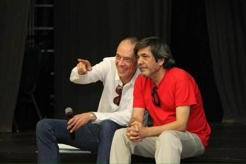 Carmelo Jorge (a la derecha), junto a Manolo Fitas, ayer. | DA