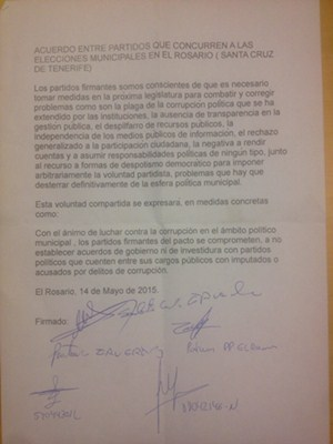 Documento del pacto anti-imputados firmado el 14 de mayo. / DA