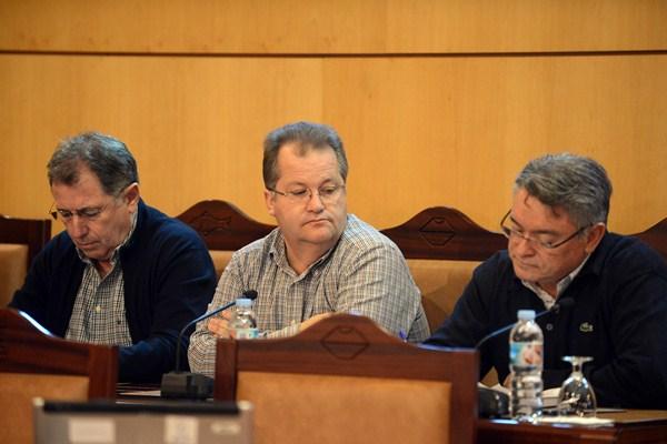 Francisco Pinto, en el centro, durante la sesión de un pleno municipal. / DA