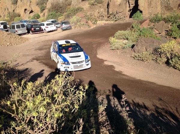 Quintana-Bonilla (Mitsubishi Lancer Evo IX) en el pasado Rally de Gran Canaria. / DA
