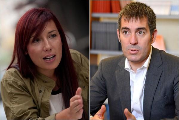 Patricia Hernández (PSOE) y Fernando Clavijo (CC).  / SERGIO MÉNDEZ - FRAN PALLERO