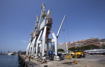 Las tres grúas permanecían inoperativas en el Muelle de Ribera, lugar en el que se alzará la futura estación de cruceros del puerto tinerfeño. / DA