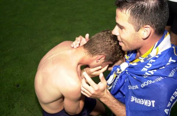 Aragoneses (d) celebró en Butarque el primero de sus dos ascensos a Primera con el CD Tenerife. / DA