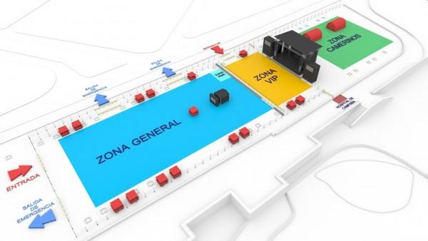 Plano del espacio en el que se desarrollará el concierto en el parking del Parque Marítimo de Santa Cruz. / DA