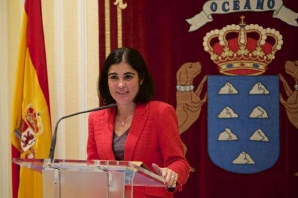 Carolina Darias, ayer en la sala de prensa del Parlamento. / DA