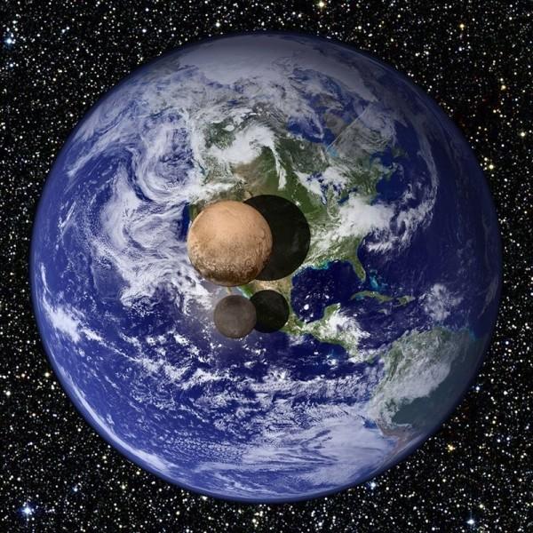 Comparativa entre la Tierra, Plutón y su luna Caronte. | NASA