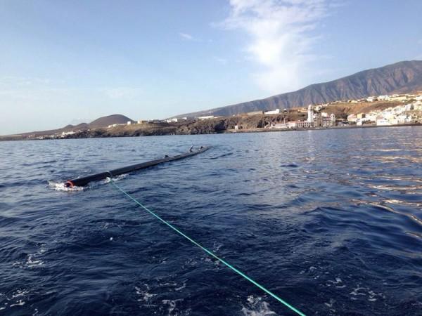 Uno de los nuevos tramos de difusores del emisario submarino ya instalado. | DA