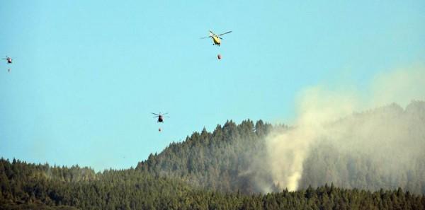 Tres de los helicópteros actuaron en la zona.   DA