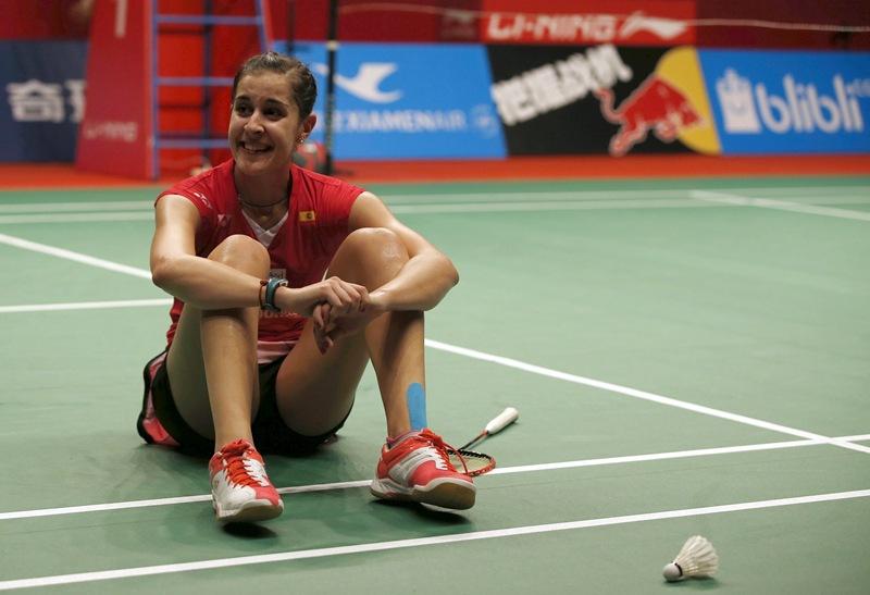 Carolina Marín celebra el título mundial